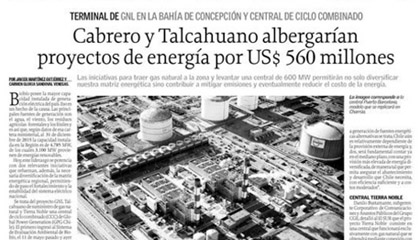 Cabrero y Talcahuano albergarían proyectos de energía por US$560 millones