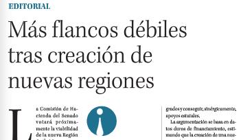 """""""Más flancos débiles tras creación de nuevas regiones"""""""