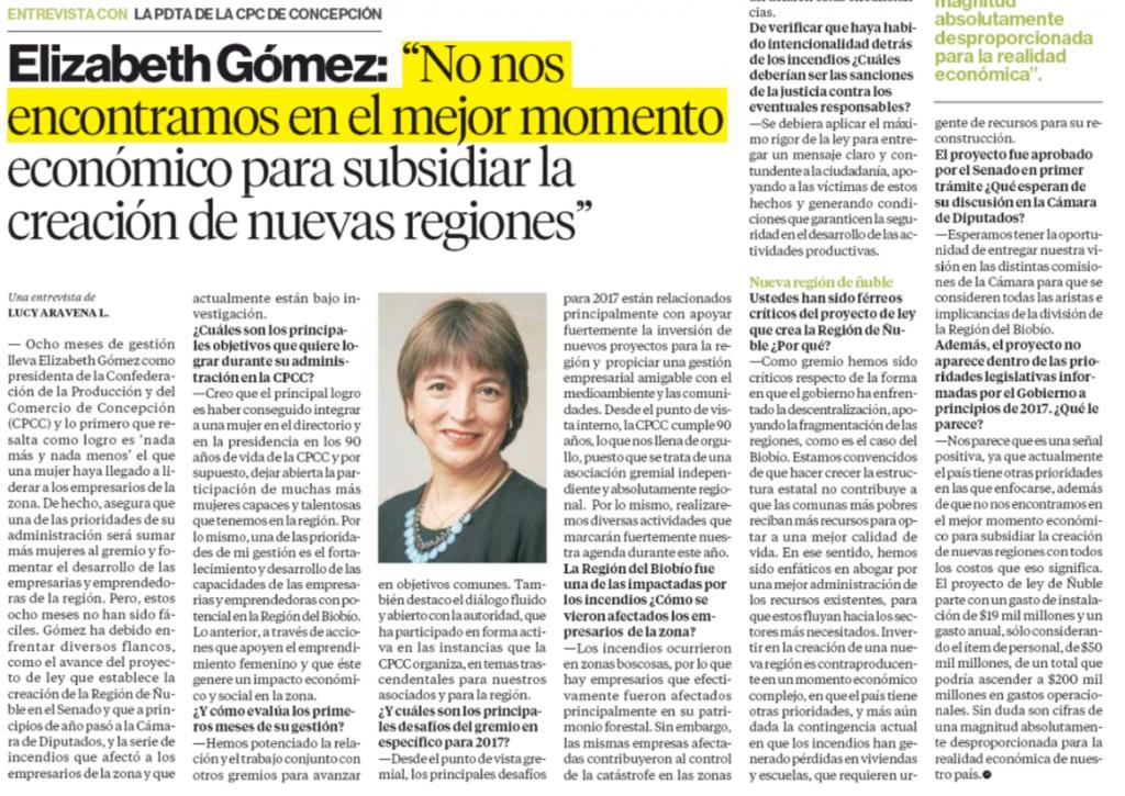 Elizabeth Gómez: No nos encontramos en el mejor momento económico para subsidiar la creación de nuevas regiones