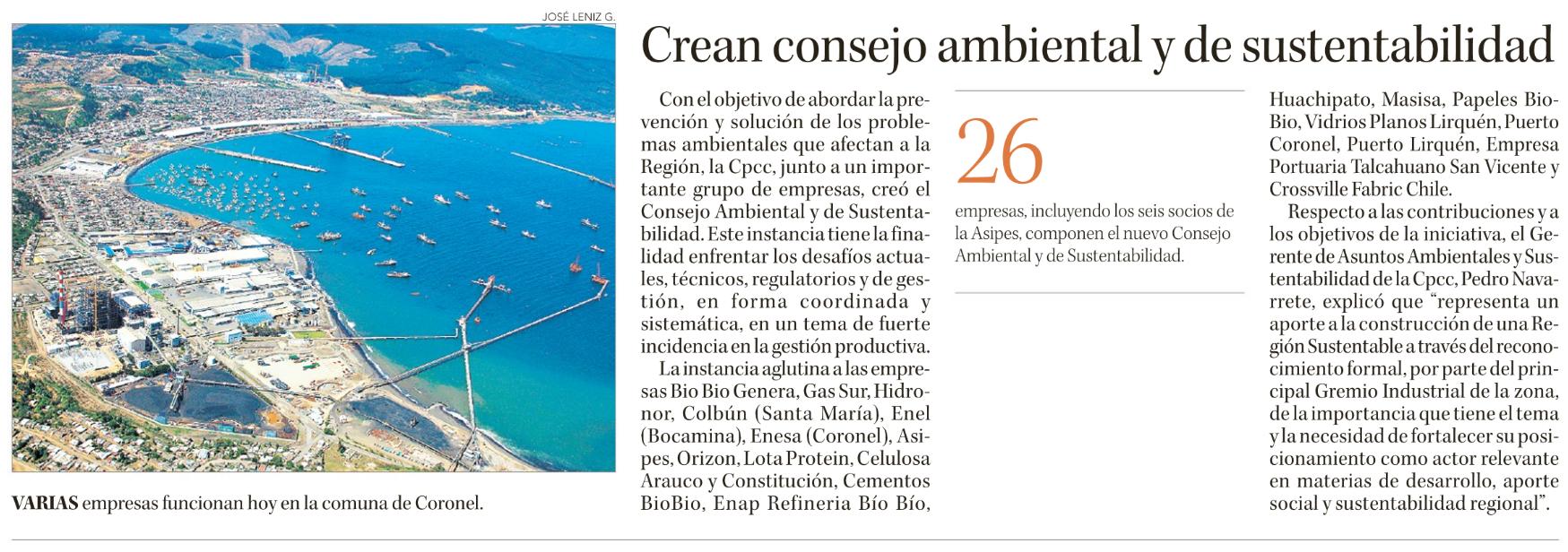 08.014.2017 Crean Consejo ambiental y d e sustentabilidad_Diario Concepción