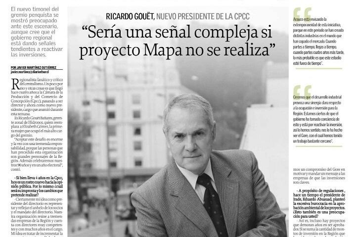 """Ricardo Gouët, nuevo presidente de la CPCC: """"Sería una señal compleja si proyecto MAPA no se realiza"""""""