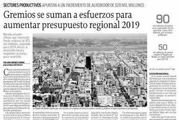 Gremios se suman a esfuerzos por aumentar presupuesto regional 2019